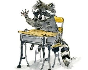 Art Print, Little Raccoon, Antique School Desk, nursery decor