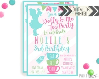 Baby Doll Tea Party Invitation | Digital or Printed | Dolly Invitation | Tea Party | Doll Birthday Party | Dolly Invitations |  Doll Party