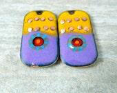 Purple Yellow Teal Red Enameled Copper Earring Pair, Rectangle Enamel Earring Charms, Boho Beads, Murrini Boho Chic, Rustic Organic Pendants