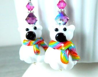 Polar Bear Dangle Earrings, Christmas Earrings, Rainbow Holiday Jewelry, Winter Earrings, Lampwork, Colorful Teddy Bear, Animal Jewelry Cute