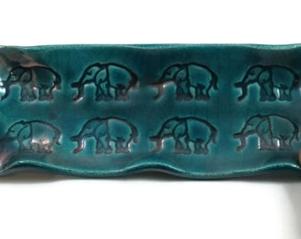 Elephant Pottery Tray Raku Teal