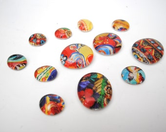 BOLD & colorful pattern magnet or push pin set - made from recycled magazines, stocking stuffer, hostess gift, graduation