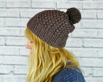 Hand knitted Bobble Hat - Luxury merino wool and silk - Brown