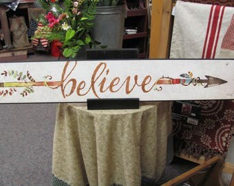 Arrow,Arrow Wall Decor, Believe,Wood Art Sign,Believe Arrow,36x6,Marla Rae