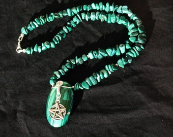 Malachite and Sterling Silver Pentacle Necklace~Protection~Abundance~Growth