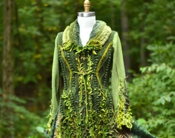Custom listing for MI. Bespoke eco couture, unique Fantasy Woodland sweater coat