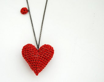 Red heart crochet necklace, red and gold long necklace, handmade crochet heart, red accessory, statement jewelry, red yarn