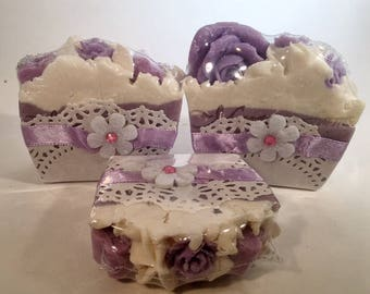Lavender Coconut Milk Mini Soap- Cake Slice-Handmade-Artisan-Cold Process-Soap-Vegan-Luxurious-Lavender-Gift-For Her-Abbotsford-BC-Canada