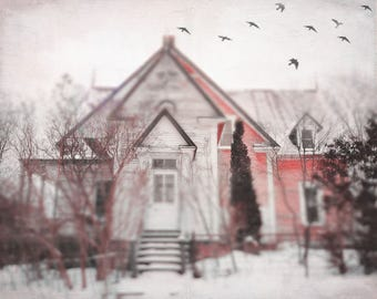 """Dark landscape photography gothic grey black house surreal haunted rustic - """"House on the hill"""" 8 x 10"""