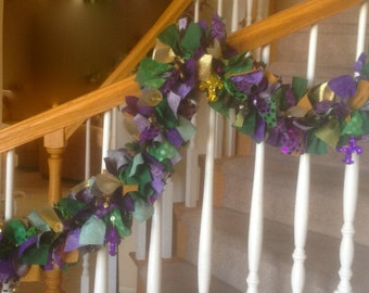 7 foot Mardi Gras Garland with  Flur De Lis Ornaments,party decoration,fabric garland,Mardi Gras decoration,Mardi Gras garland,decoration