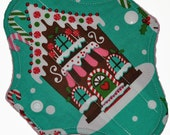 Liner Core- Gingerbread House Reusable Cloth Petite Pad- 6.5 Inches