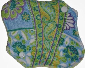 Liner Core- Green Paisley Minky Reusable Cloth Petite Pad- WindPro Fleece- 6.5 Inches