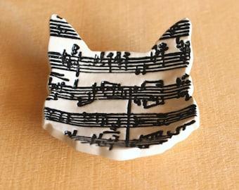 Ceramic CAT Sheet Music Ring Dish - Handmade Porcelain B&W Sheet Music Cat Ring Dish - Tea Bag Holder - Wedding Ring Dish - Ready To Ship