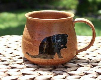 Ceramic CAT Mug - Handmade Speckled Reddish-Brown Stoneware Cat Coffee Mug - Father's Day Gift Idea - Black Cat Silhouettes - Ready To Ship