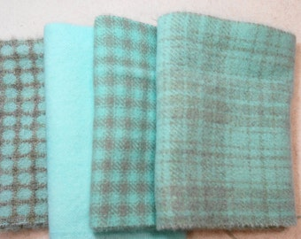 "Hand Dyed Wool Felt, Aqua - Light Turquoise, Four 6"" x 15-16"" pieces, Perfect for Rug Hooking, Applique' and Crafting"