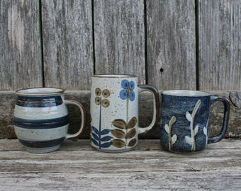 Set of Three Blue, Gray, and Brown Stoneware Mugs