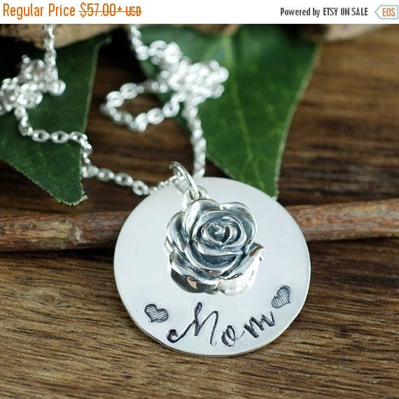 15% OFF SALE Mothers Charm Necklace, Mom Necklace, Mother's Necklace, Personalized Mom Necklace, Mommy Jewelry,  Rose Necklace, Mothers Day