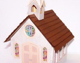 Greenleaf Church, Church, Chapel, White, Dollhouse, Miniatures, Handcrafted, Gift Box, Miniature Village, Turdor House, Free Shipping, Decor