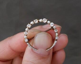 Victorian Edwardian 14K Yellow Gold Platinum Diamond Natural Pearls Half Moon Pin Brooch