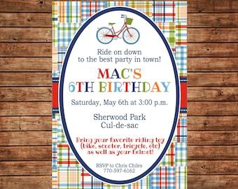 Boy Bicycle Riding Toy Playdate Madras Plaid Birthday Party  Invitation - DIGITAL FILE