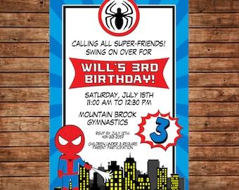 Boy Super Hero Superheroes Spider Man City Party  Invitation - DIGITAL FILE