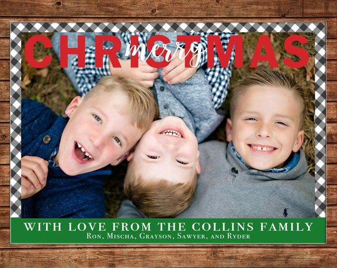 Photo Picture Christmas Holiday Card Gingham Small Check - Digital File