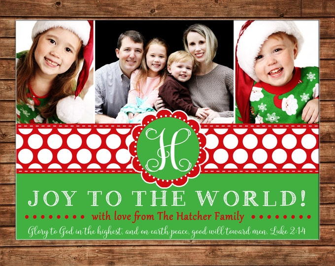 Photo Picture Christmas Whimsical Preppy 3 Pictures Red Green Polka Dot Monogram Joy to the World - Digital File