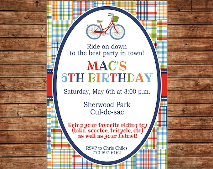 Boy Bicycle Riding Toy Playdate Madras Plaid Birthday Party  Invitation - DIGITAL FILE