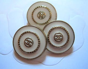 Set of Three (3) CHANEL White Gold Metal Buttons ,20 mm