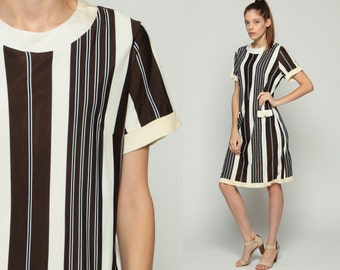 60s Mod Dress MINI Striped Brown Off White 1960s Shift Vintage Twiggy Short Sleeve Sixties Minidress Large