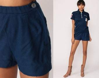 High Waist Shorts 70s Mod Dark Blue Hipster Plain High Rise Hotpants Navy Vintage Retro Hot Pants 1970s Extra Small xs