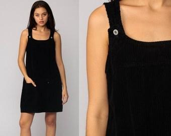 Corduroy Dress Jumper Dress 90s Mini Black Pinafore Shift 1990s Grunge Shift Overall Dress Vintage Minidress Sleeveless Smock Medium