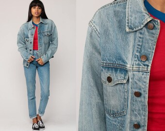 Denim Jacket Jean Jacket Faded Blue Oversize 70s 80s Roebucks Vintage Biker Oversized Button Up Hipster Extra Small xs