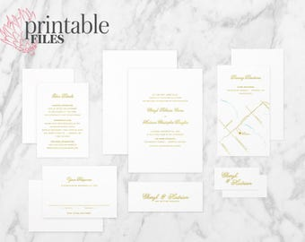 The 'Bianca' Minimalistic Calligraphy Gold Foil Wedding Invitation Suite (Printable PDFs)