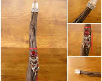 "Sage Crystal Wand, 23"" long, Desert Blue Sage branch, crystal point with crown, beaded red ribbon and silver and red medallion (#1546)"