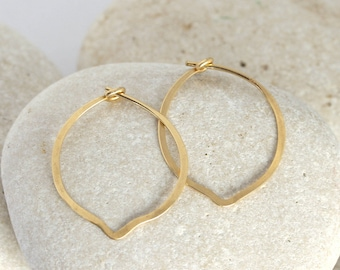 Gold petal earrings, Small hammered gold fill earrings from the Ophelia Collection