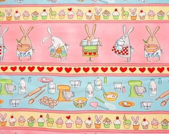 Timeless Treasures Baking Bunnies Stripe Cotton Fabric - 1 yard