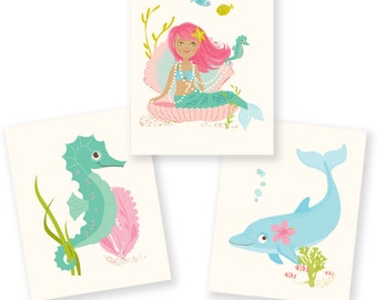 Ocean wall art for girls, Mermaid, Seahorse, Dolphin - nursery wall decor for children, kids bathroom art