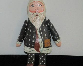 Vintage Leather Santa Claus Doll Santa Sits on Shelf Leather Boots Christmas