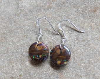 Round Boulder Opal earrings - earthy, precious & natural stone jewelry handmade in Australia by NaturesArtMelbourne