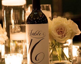 Table Number Labels for Wine Bottles, 1-14, Custom Calligraphy