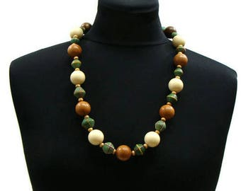 Vintage Chunky Necklace Vintage Green and Brown Necklace Vintage Beaded Jewelry Chunky Necklaces For Women Vintage Chunky Bead Necklace