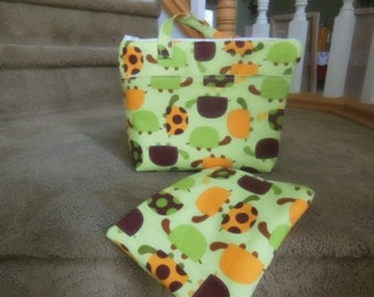 Insulated  Lunch Bag and Sandwich Bag or Snack bag , Diaper Bag, Turtles, summer camp, beach bag, picnic bag