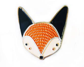 Fox Brooch, Fox Enamel Pin, Fox Jewelry, Fox Accessories, Fox Badge, Fox Lapel Charm, Cute Animal Badge, Kids Fox Pin