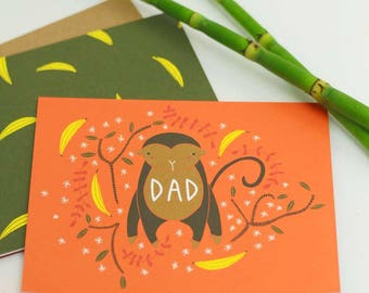 Happy Fathers Day Card, Fathers Day Monkey Card, Card For Dad from Kids, Stepdad Card, Awesome Father's Day, Best Dad Whale Card