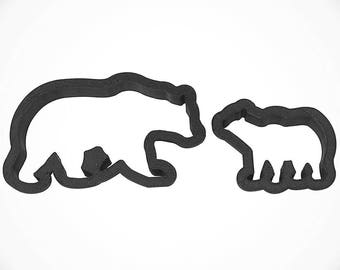 """Momma Bear and baby bear cookie cutter set, or 4.5"""" mama, 2.5"""" baby bear cub cookie cutter, baby shower cookie cutter,"""