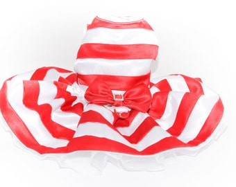Dog Holiday Dress XXSmall to Large - Red and White