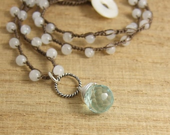 Crocheted Necklace with Brown Cord, Moonstone Beads, a Braided Loop and a Blue Crystal Teardrop SN-236