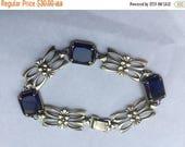 ON SALE Vintage Sterling Silver Sapphire Floral Link Necklace
