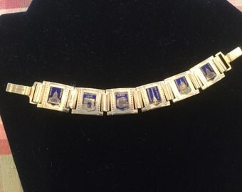 Vintage French Blue Enamel Parisian Tourist Bracelet Book Chain Links